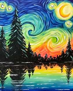Starry Night Lake View