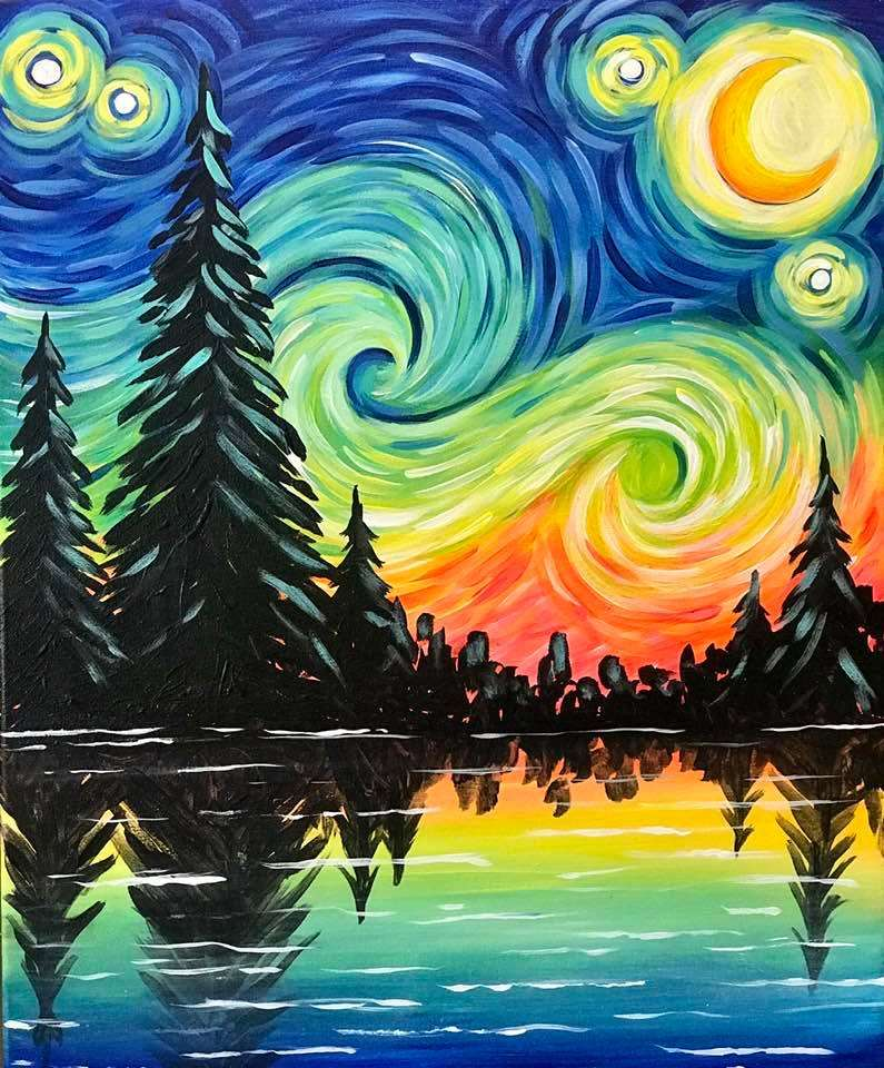 Starry Night Lake View