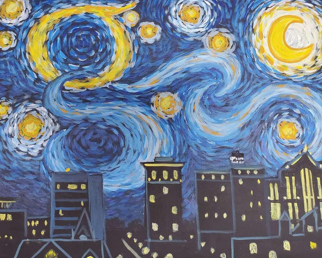 Starry Night Over City Lights