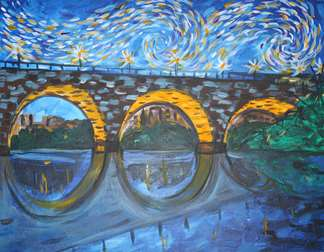 Starry Night over Stone Arch Bridge