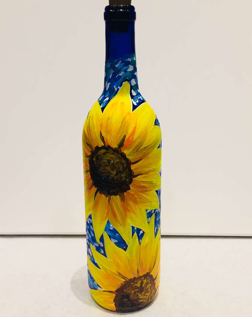 Starry Night Sunflowers Wine Bottle with Lights - In Studio Event - Limited Seating Available