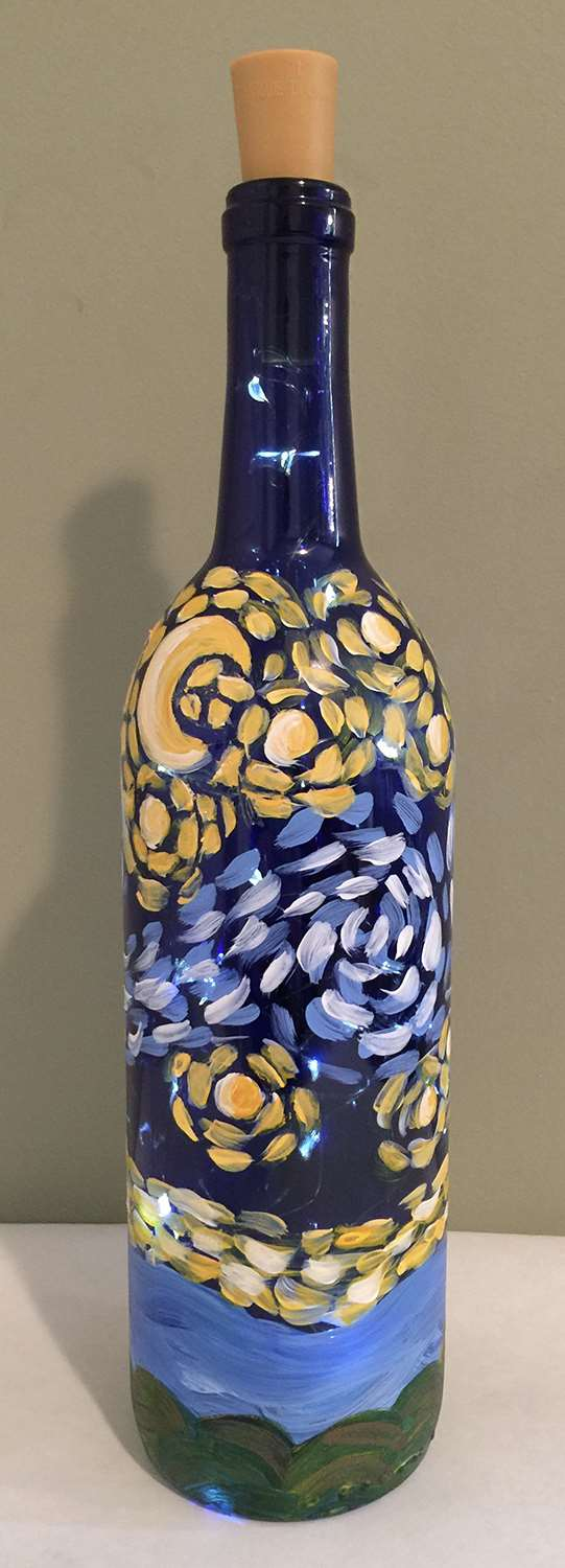 Painted Wine Bottle with LED Lights!