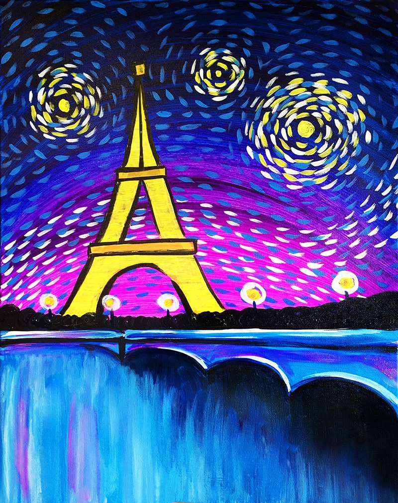 LIVE VIRTUAL CLASS: STARRY PARIS NIGHT - WITH OR WITHOUT PAINT FROM HOME ART KIT