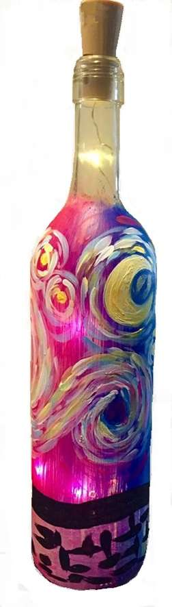 Psychedelic Starry Night Wine Bottle