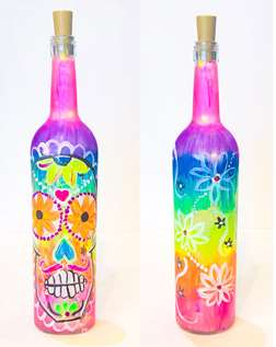 Sugar Skull Lighted Wine Bottle