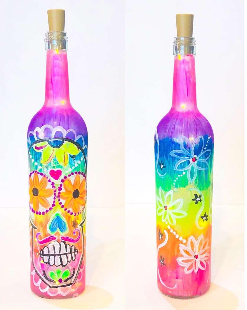 Sugar Skull Lighted Wine Bottle