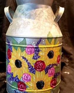 Sunflower and Lavender Milk Can