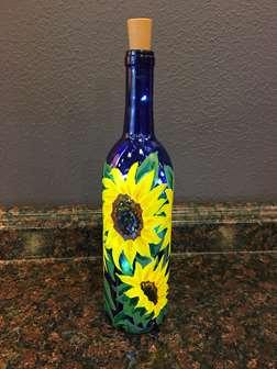 Sunflower Wine Bottle