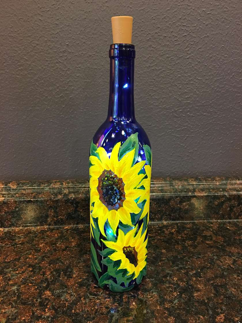 Sunflower Wine Bottle