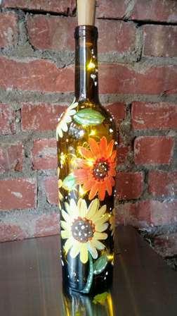 Sunflower Wine Bottle With Lights