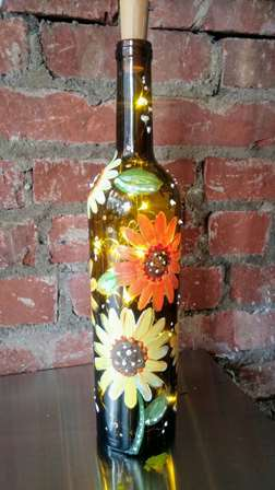 Sunflower Wine Bottle With Lights