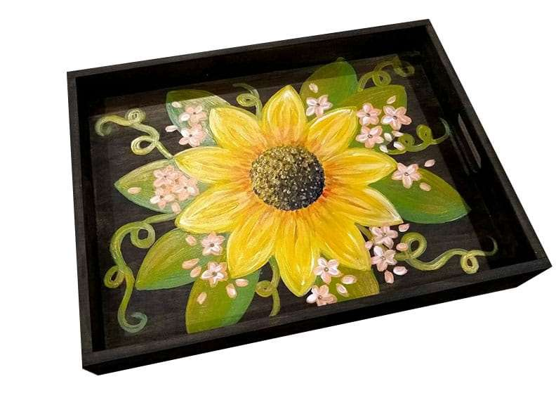 Sunflower Wood Serving Tray - $10 Off Bottles of Wine