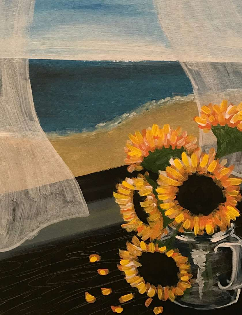 Sunflowers by the Seashore