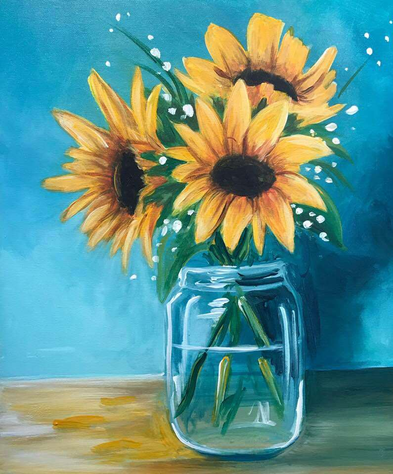 Sunflowers in a Glass - In Studio Event - Limited Seating Available