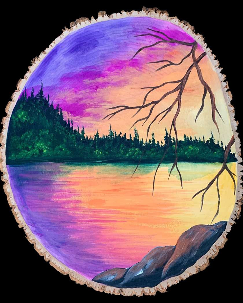 IN STUDIO CLASS: SUNSET ABLAZE ON A WOOD ROUND - $3 GLASSES OF HOUSE WINE SPECIAL