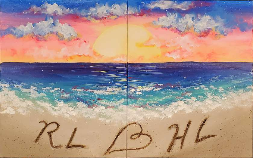 Date Night! Paint a portion with your partner or paint it on 1 canvas