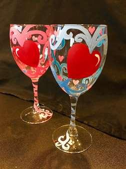 Sweet Hearts Wine Glass