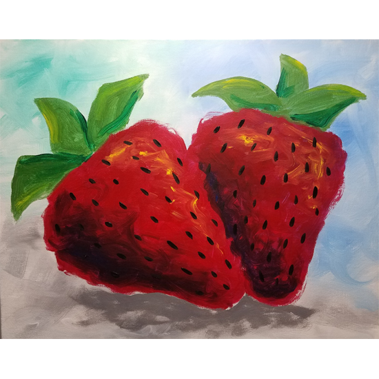 IN STUDIO CLASS: STILL LIFE PAINTING - SWEET JUICY STRAWBERRIES - $3 GLASSES OF HOUSE WINE SPECIAL