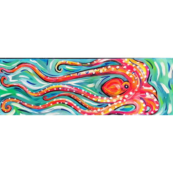 """""""Blacklight Swimming Octupus"""" for all ages! 10 x 20 canvas"""