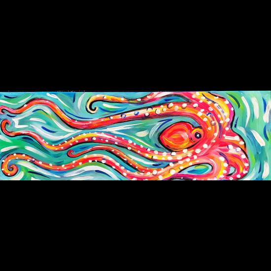10 x 30 Canvas!  Swimming Octopus