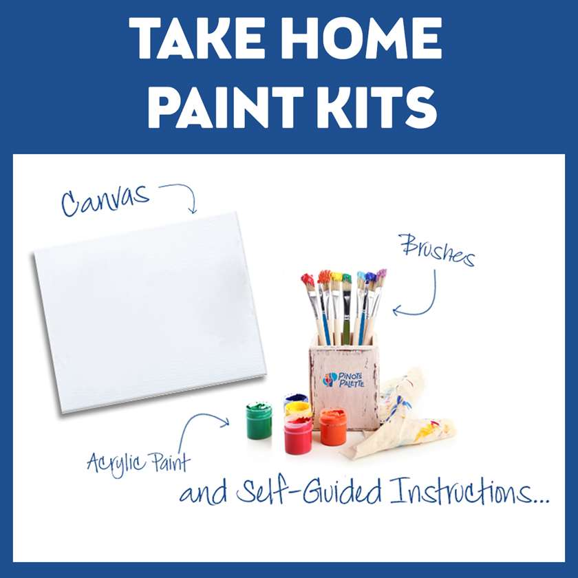TAKE HOME ART KITS WITH VIDEO TUTORIALS - 16 KITS TO CHOOSE FROM - ORDER ONLINE AND PICK UP KITS AT THE STUDIO