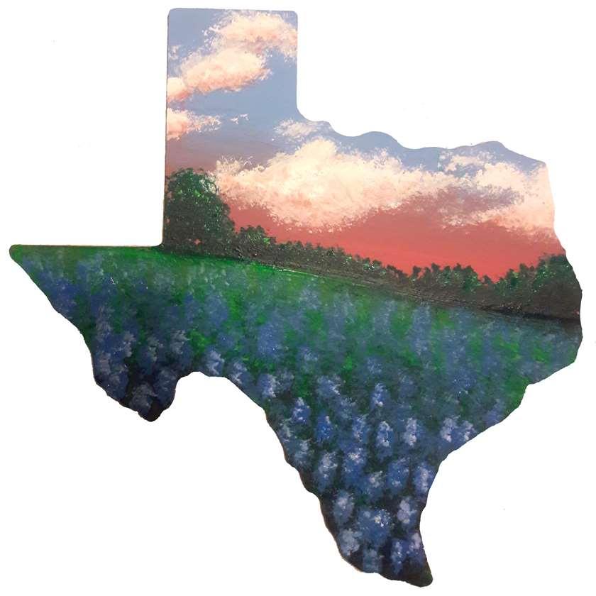 Texas Wooden Cutout - Bluebonnet Field