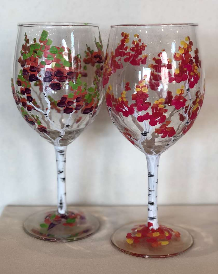 Let's Paint a Pair of Colorful Fall Wine Glasses! IN STUDIO EVENT- VERY LIMITED SEATING DUE TO SOCIAL DISTANCING