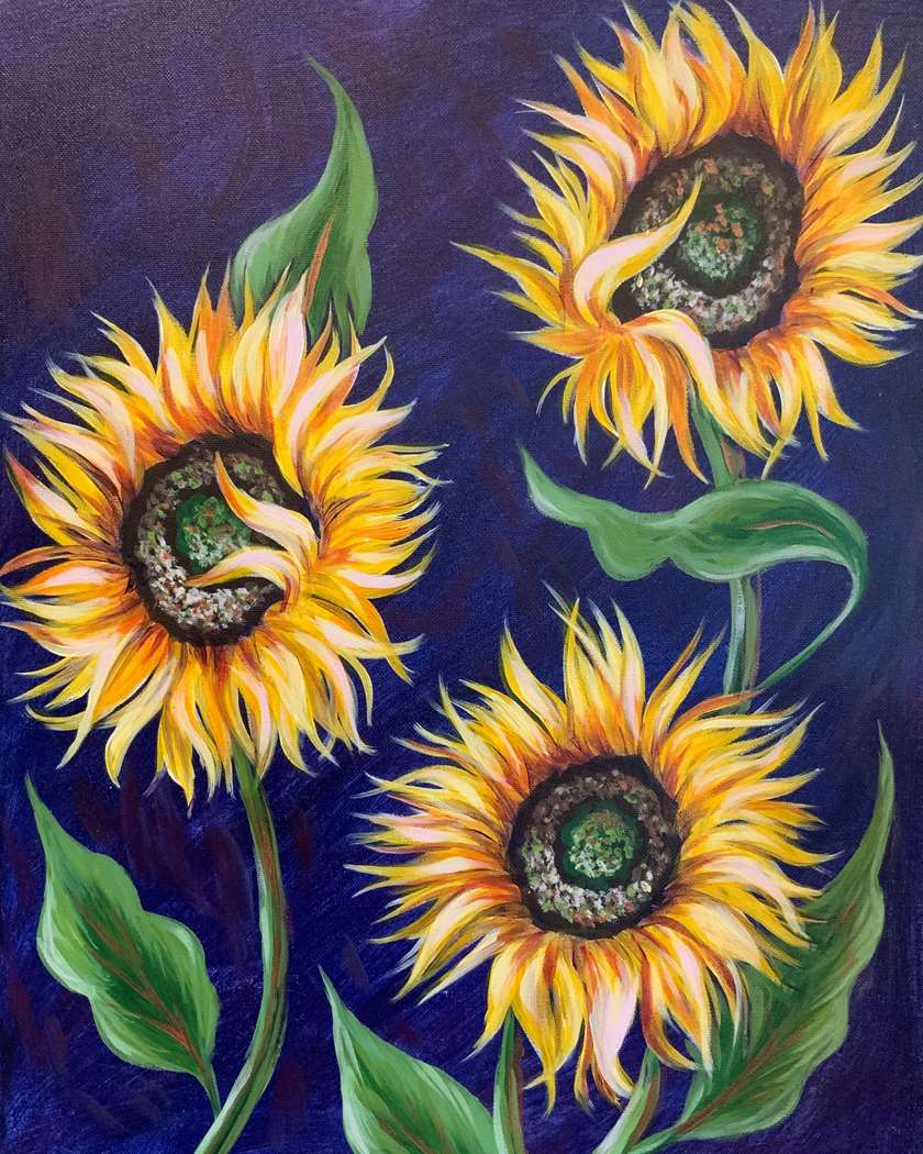 """""""Dance of the Sunflowers"""". One of our favorites on canvas or wood!"""