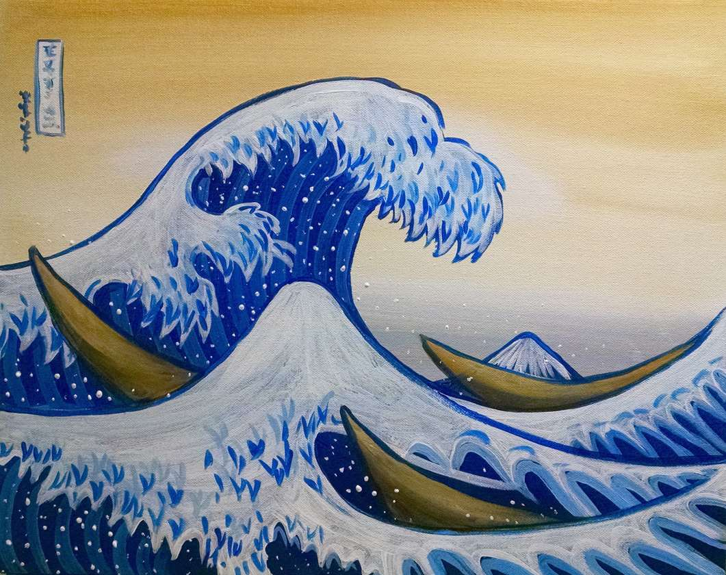 IN STUDIO CLASS: MASTERPIECE MONDAY - THE GREAT WAVE OFF KANAGAWA - $3 GLASSES OF HOUSE WINE SPECIAL