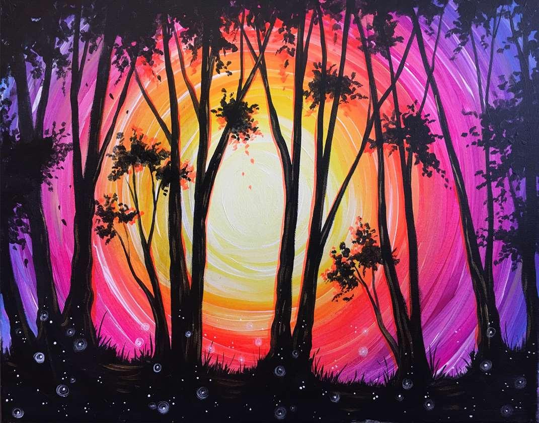 Through the Trees - Black Light Painting!