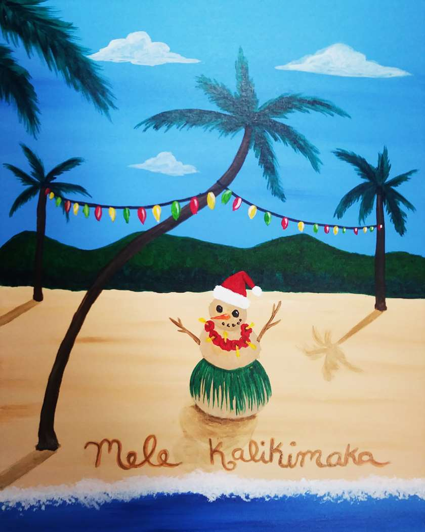 Tropical Christmas.Tropical Christmas Pinot S Palette Painting