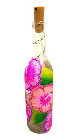 Tropical Hibiscus Wine Bottle