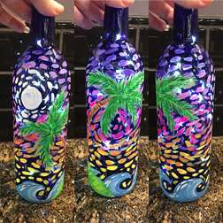 Tropical Starry Night Wine Bottle