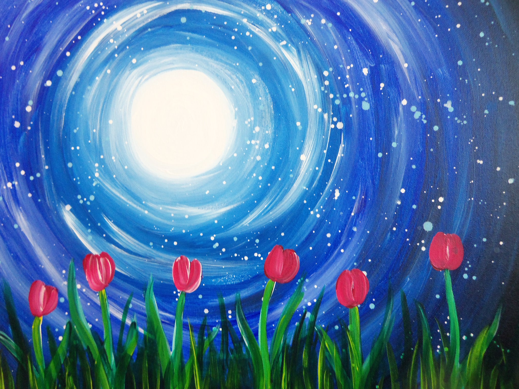 Tulips in the moonlight pinot 39 s palette painting for Sip and paint houston