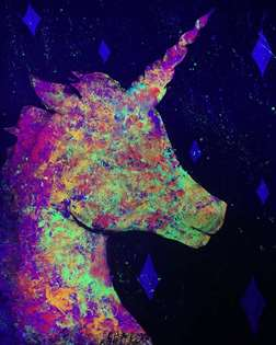 Unicorn Magic under Blacklight