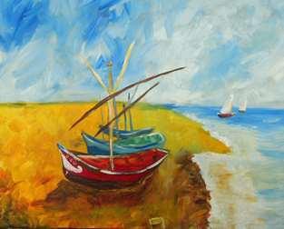 Van Gogh Fishing Boats On The Beach at Saint Maries