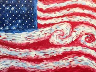Van Gogh Style American Flag