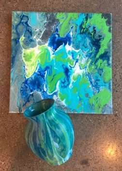 Vase and Canvas Marble Pour