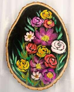 Vibrant Blooms on Wood