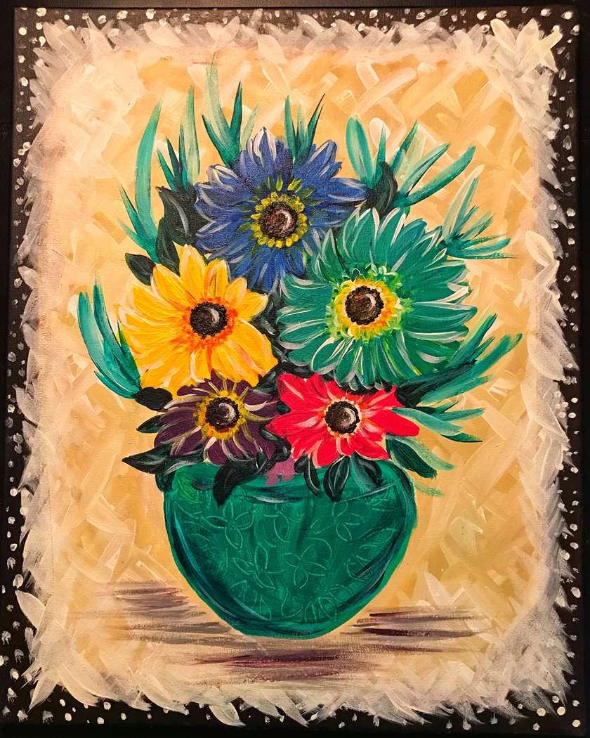 Vibrant Daisies in Pottery Bowl
