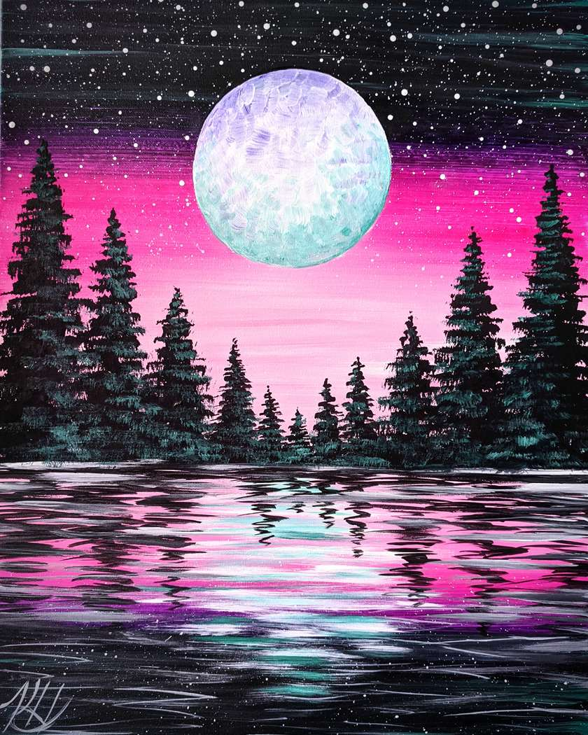 Vibrant Moon Forest