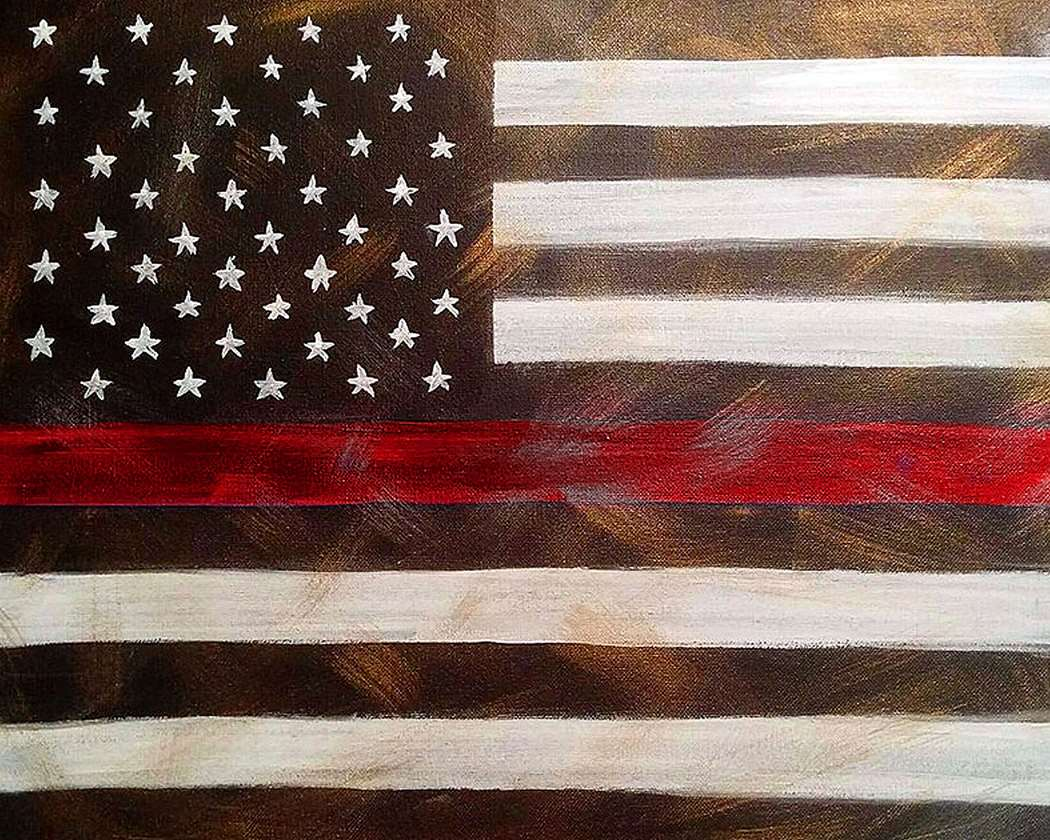 Vintage Flag Thin Red Line
