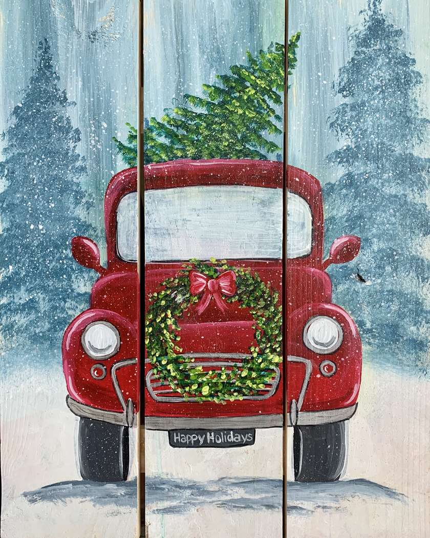 Old Red Truck With Christmas Tree In Back.Vintage Red Truck Wood Pallet Fri Nov 29 7pm At Wall Township