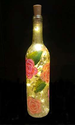 Vintage Rose Wine Bottle