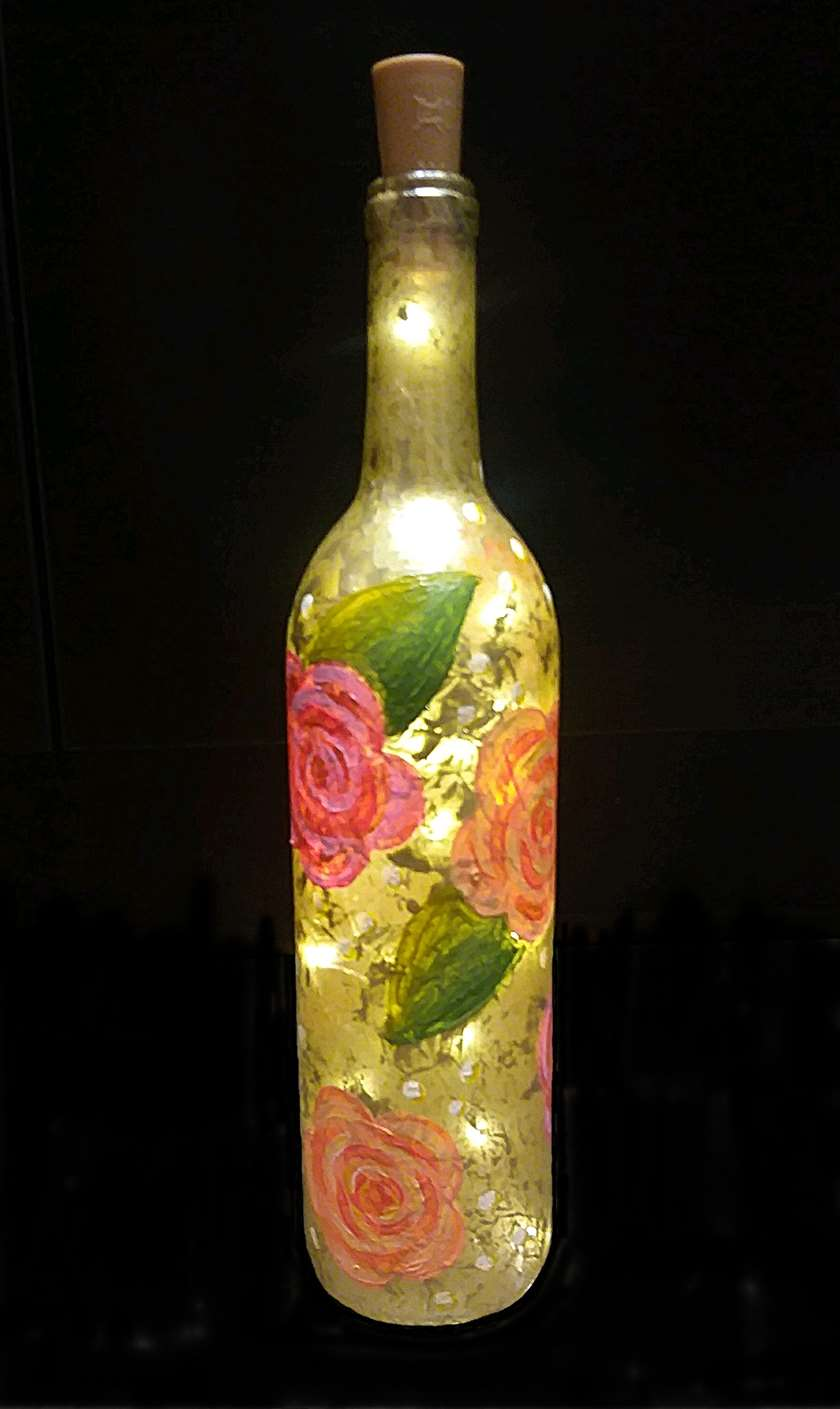 Vintage Rose Wine Bottle