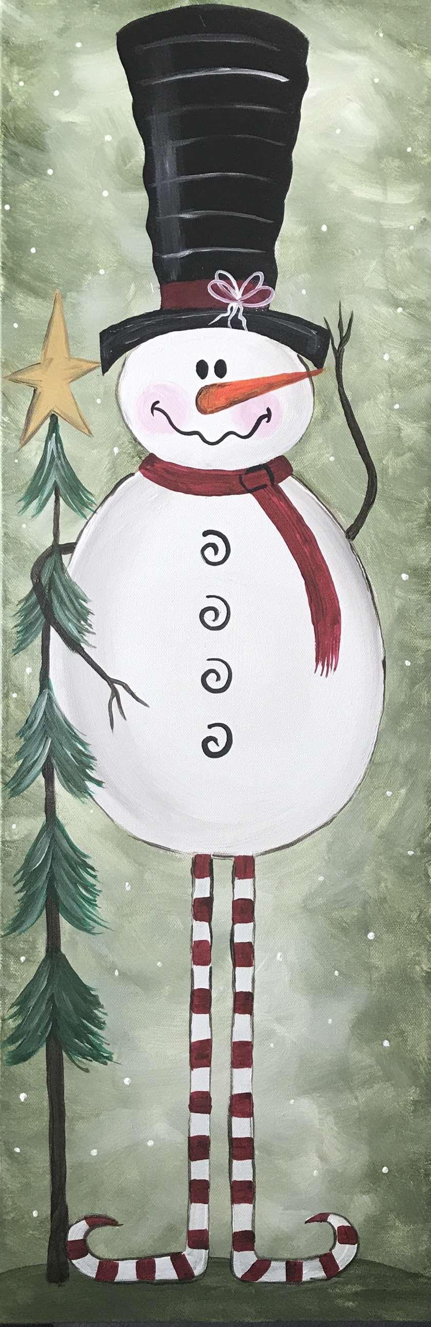 Vintage Snowman - 10x30 canvas