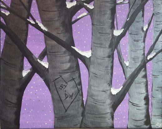 Violet Winter Birches