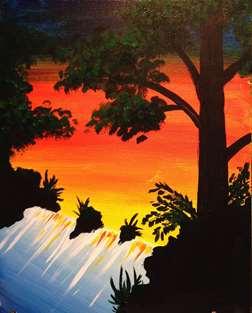 Waterfall Sunset
