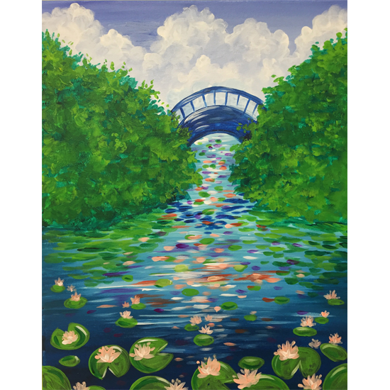 IN STUDIO CLASS: MASTERPIECE MONDAY - WATERLILY GARDEN - $3 GLASSES OF HOUSE WINE SPECIAL