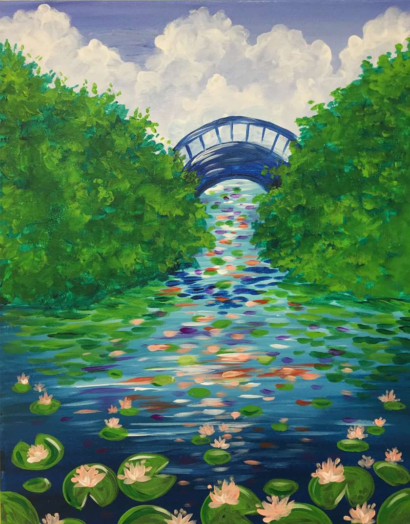 IN STUDIO CLASS: MATERPIECE MONDAY - WATERLILY GARDEN - $3 GLASSES OF HOUSE WINE SPECIAL